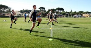 England's  Henry Slade warms up during the training session in Albufeira on Tuesday. Photograph:  David Rogers/Getty Images
