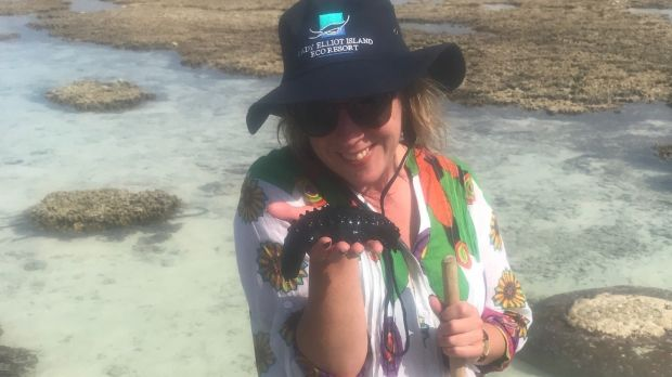Gemma with a sea cucumber