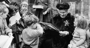 Italian educator Maria Montessori with young children at her school in Smithfield, London, circa 1951. Photograph:  Popperfoto/Getty Images