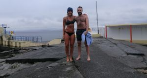 "Lisa Regan and a co-swimmer. ""Living in Galway we feel more than a little connection and love for the ocean"""