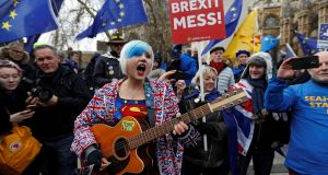 "An anti-Brexit  protest outside parliament in London. The ""Dunkirk spirit"" of being beaten but not broken has if anything shifted to the Remain side. Photograph: Reuters/Peter Nicholls"