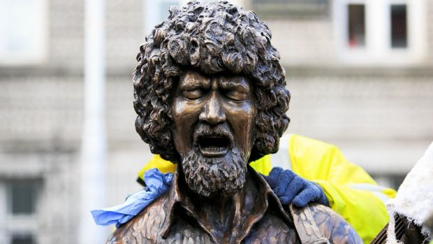 A close-up of the Luke Kelly statue on South King Street, Dublin. Photograph: Gareth Chaney/Collins