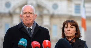 Minister for Justice  Charlie Flanagan and  Minister for Culture, Heritage and the Gaeltacht Josepha Madigan speaking to journalists on the Government's decision to hold a referendum to amend the constitutional provisions on divorce. Photograph: Dara Mac Dónaill