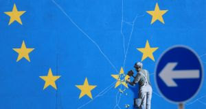 A view of the Brexit-inspired mural by artist Banksy in Dover, England, ahead of the debate and vote on the Brexit motion at the House of Commons on Tuesday. Photograph: Gareth Fuller/PA Wire