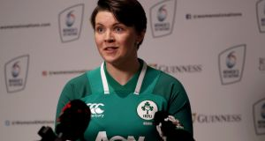 Ireland captain Ciara Griffin: will be supported by Sene Naoupu and Claire Molloy against a fully   professional England side. Photograph: Bryan Keane/Inpho