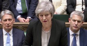 British prime minister Theresa May said she would seek legally binding changes to the Brexit withdrawal agreement that deal with concerns on the border backstop. Photograph: Reuters