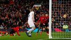Manchester United's Victor Lindelof scores their late equaliser. Photograph: Phil Noble/Reuters