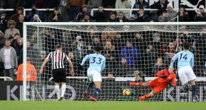 Newcastle United's Matt Ritchie scores their winner from the penalty spot against Manchester City. Photograph: Scott Heppell/Reuters.