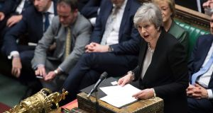British prime minister Theresa May  addresses MPs following the results of voting on amendments put forward by MPs over the Government's Brexit deal, in the House of Commons, London, on Tuesday. Photograph: UK Parliament/Jessica Taylor/PA Wire