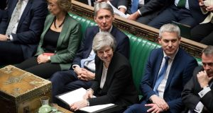 British prime minister Theresa May,  with  Brexit secretary Stephen Barclay to her left, in the House of Commons in Westminster on Tuesday night.  Photograph:  UK Parliament/Jessica Taylor/PA Wire