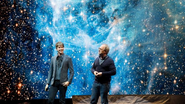 Professor Brian Cox and Robin Ince on stage during his Guinness World Record breaking live tour show. Photograph by Nicky J Sims/Getty Images
