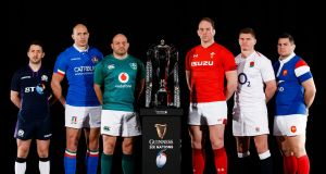 The six captains at the Six Nations launch. Photograph: John Walton/PA(