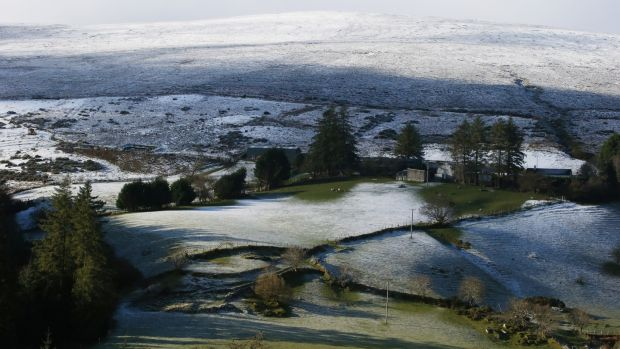 A light dusting of snow on the Dublin mountains on Wednesday afternoon. Photograph: Stephen Collins/Collins Photos