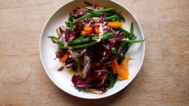 Green beans, blood orange and radicchio