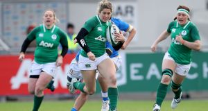 Ireland's Alison Miller in action against Italy in the Women's Six Nations Championship in February 2018. The winger suffered a horrific injury in that game which put her rugby career in doubt. Photograph:  Bryan Keane/Inpho