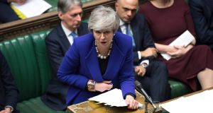 British prime minister Theresa May  in the House of Commons on Wednesday. Photograph: Jessica Taylor/PA Wire