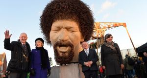 President Michael D Higgins and his wife, Sabina, with Lord Mayor of Dublin Nial Ring and artist Vera Klute, at the Guild Street site, in the docklands. Mr Higgins unveiled two sculptures of   Luke Kelly  on Wednesday. Photograph: Dara Mac Dónaill