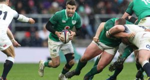 Ireland's Conor Murray in action  at the Six  Nations Championship Round 5  match against England at Twickenham in March 2018.  Photograph: Billy Stickland/Inpho