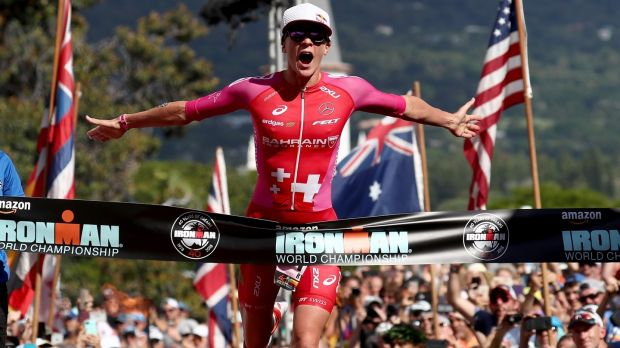 Daniela Ryf of Switzerland celebrates after setting the course record of 8:26:16 to win the Ironman World Championships in October, 2018 in Kailua Kona, Hawaii. Photograph: Al Bello/Getty Images for Ironman