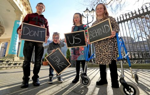CAMPAIGN LAUNCH: Down Syndrome Ireland launches its 'Please Don't Leave Us Behind' campaign at Leinster House. Photograph: 1IMAGE/Donall Farmer