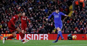 Leicester City's Harry Maguire scores their equaliser in the Premier League game against Liverpool at Anfield. Photograph: Phil Noble/Reuters