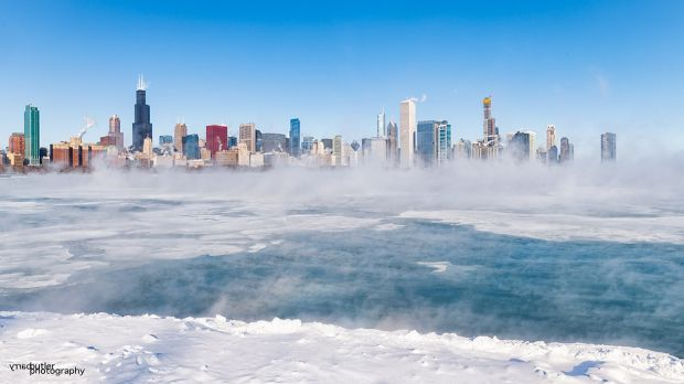 Barry Butler: 'Today, I was out on the shores of Lake Michigan where the temperature was minus-32 degrees celsius, before wind chill. Those cold temperatures create steam rising from the water, even when it's frozen over.'