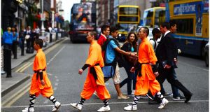 A group of Chinese Shaolin Buddhist monks  on a visit to Dublin. Photograph: Bryan O'Brien