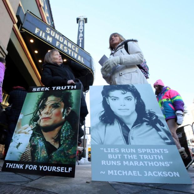 Leaving Neverland: Michael Jackson supporters at Sundance. Photograph: AP