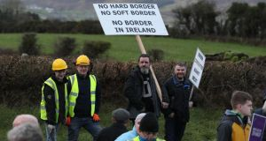 An anti-Brexit rally at the Border near Carrickcarnan in Co Louth. Photograph: Brian Lawless/PA Wire