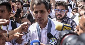 Juan Guaidó, president of Venezuela's National Assembly, during a protest against President Nicolás Maduro in Caracas on Wednesday. Photograph: Carlos Becerra/Bloomberg
