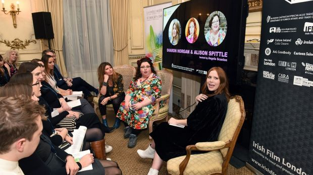 Angela Scanlon with guests Alison Spittle and Sharon Horgan at a St Brigid's Day event in London in 2018.