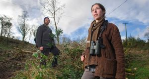 Environmentalist Tom Jordan and ecologist Laura McCarthy at the woodland in the Toon Valley between Macroom and Inchigeelagh, Co. Cork. Photograph: Daragh McSweeney/Provision