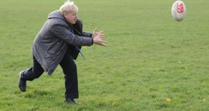 Knock-on effect: Boris Johnson dumps the border problem right inside the Irish defensive line.  Photograph: Ben Radford/Corbis via Getty Images