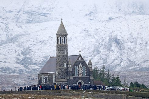 FUNERAL: The funeral of Micheal Roarty at the Sacred Heart Church in Dunlewey, in Co Donegal. He was one of four young men who died following a road crash in a remote area of north west Co Donegal on Sunday evening. Photograph: Niall Carson/PA Wire