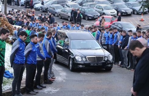 GUARD OF HONOUR: The funeral cortege of Shaun Harkin makes its way to Christ the King Church in Gortahork, in Co Donegal on January 31st. He was another of four the young men who died following a road crash in a remote area of north west Co Donegal on Sunday evening. Photograph: Niall Carson/PA Wire