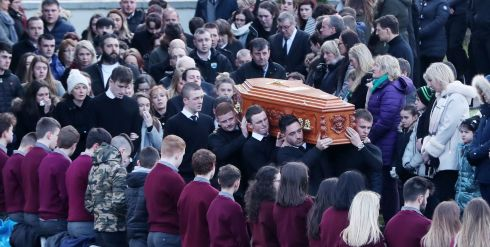 FINAL JOURNEY: The funeral of Daniel Scott takes place at Christ the King Church in Gortahork, Co Donegal on January 31st. Photograph: Niall Carson/PA Wire