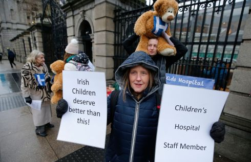 HOSPITAL COSTS: The New Children's Hospital  Alliance held a rally at gates of Leinster House while the Public Accounts Committee was in session on Janaury 31st. Rosemary Dwyer is seen at the Dáil.  Photograph: Nick Bradshaw/The Irish Times