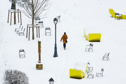 FOOTSTEPS IN THE SNOW: A person walks through a snow covered public park in Luxembourg on January 31st. Photograph: Julien Warnand/EPA