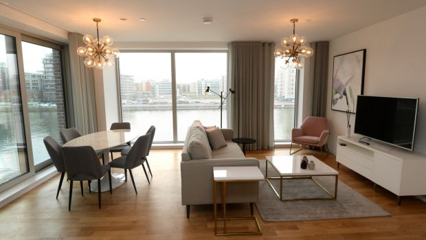 Views and interior in Capital Dock: The 150 two-bedroom apartments range in price from €3,500 to €4,000 a month. The penthouse will set you back €20,000 a month. Photograph: Dara Mac Dónaill