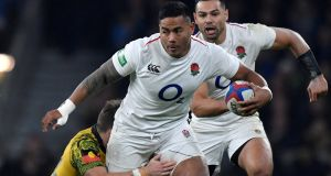 England's Manu Tuilagi in action during the victory over Australia in November. He starts his first Six Nations game in over four years against Ireland.  Photograph: Toby Melville/Reuters