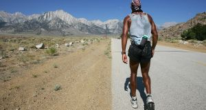 David Goggins faces Mt Whitney and the last 13 miles of the 135-mile Kiehl Badwater Ultramarathon, in Lone Pine, California. Photograph: Robyn Beck/ AFP/ Getty Images