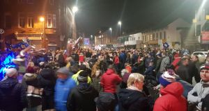 Hundreds turned out to Cluan Place in east Belfast for a vigil to murdered community worker Ian Ogle. Photograph: Rebecca Black/PA Wire