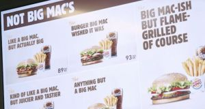 Not Big Macs: a screenshot from Burger King's promotional video. Photograph: YouTube/Screengrab