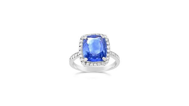 Platinum, sapphire and diamond ring, €24,950, from Weirs.