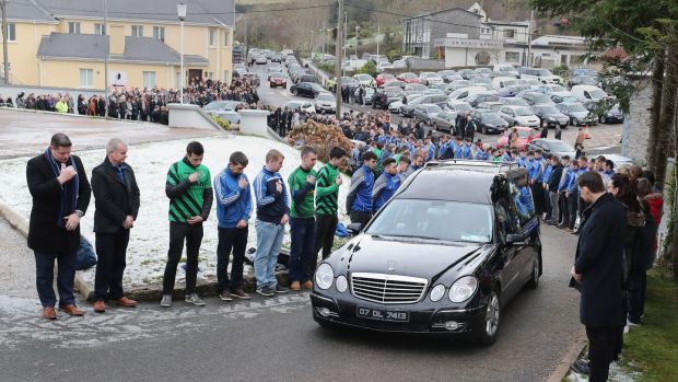 "The funeral cortege of Shaun Harkin makes its way to Christ the King Church in Gortahork. Shaun was remembered as someone ""full of conversation"" and ""wise beyond his years"". Photograph: Niall Carson/PA Wire"