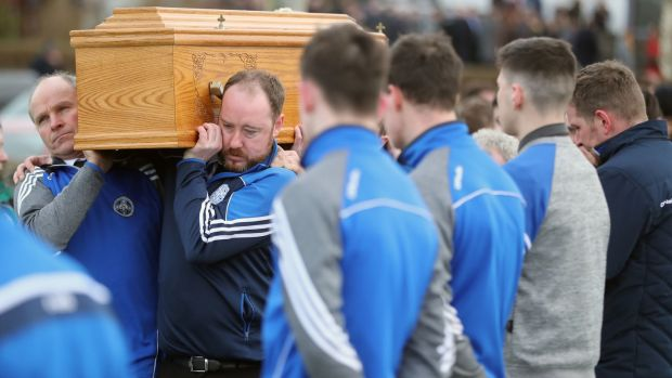 "Mourners carry the coffin of John Harley at St Finian's Church in Falcarragh. John was remembered as a kind, charming, ""sound man"". Photograph: Niall Carson/PA Wire"