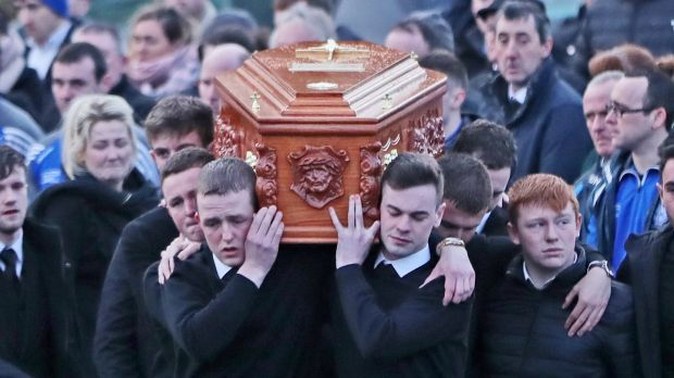 "Mourners carry the coffin of Daniel Scott at Christ the King Church in Gortahork. His funeral was told: ""Life is busy, we are all in a rush and in a hurry, we all have deadlines. But deadlines sometimes can result in dead lives."" Photograph: Niall Carson/PA Wire"