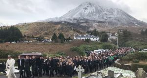 The funeral of Micheál Roarty  in Dunlewey,  Co  Donegal. Photograph: Michael McHugh/PA Wire