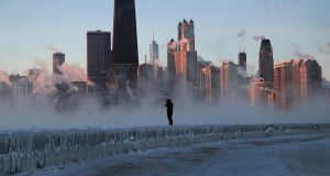 Wind chills fell as low as -50 degrees in Chicago on Thursday. Photograph:  Scott Olson/Getty Images