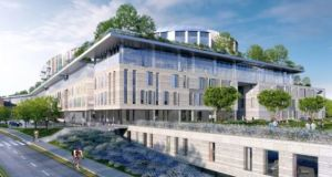 An artist's impression of the proposed new national children's hospital at the St James's Hospital campus.